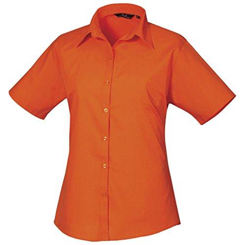 popeline courtes uni femme Orange chemise Femmes Coloris pour manches en Chemisier Orange pqZwc6zI7E