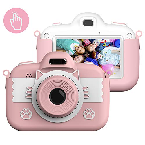 Themoemoe Kids Camera Toys for 3-12 Year Old Girls, Children's Digital Camera 3 Inch Touch Screen 8.0MP Games Camera Video with Protective Bag 16GB for Children Birthday Gift (Pink)