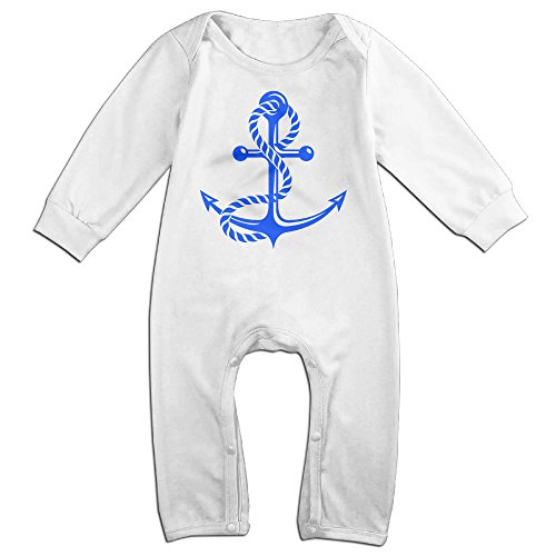 ROBERT Baby Infant Romper Nautical Anchor Lined Long Sleeve Jumpsuit Costume 18 Months