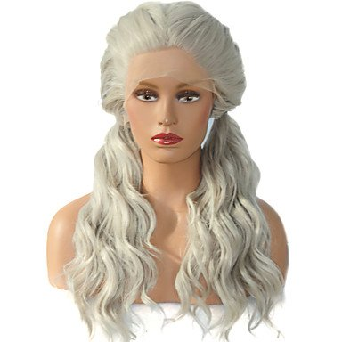 White Wig Hot (TY HOT!! Double Ponytail Gray Natural Wave Fiber Hair Wig For White Women Heat Resistant Long Artificial Synthetic Lace Front Wigs , 24)
