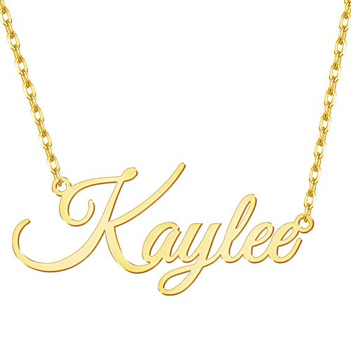 DesignForYou Custom Name Necklace with Heart, 18K Gold Plated Personalized Nameplate Jewelry for Women