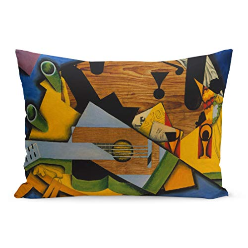 Semtomn Throw Pillow Covers Still Life Guitar by Juan Gris 1913 Spanish Cubist Painting Oil on Canvas This Work is Strongly Pillow Case Cushion Cover Lumbar Pillowcase for Couch Sofa - Cubist Painting