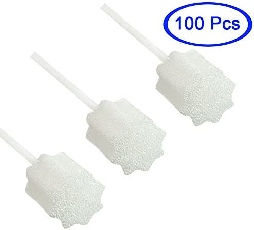 MUNKCARE Oral Swabs Disposable-Untreated and Unflavored Patients Mouth Cleaning Sponge Toothbrushes White 100 Counts