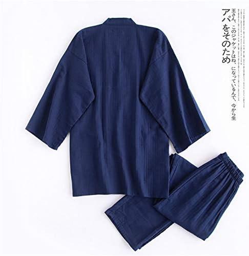 パジャマ CHJMJP 着物ローブのために男性100%コットンパジャマは日本のサウナローブメンズパジャマPijamaやつを設定します。 (Color : RBS black, Size : L)