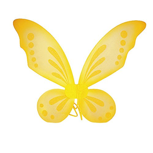 Dushi Fairy Wings Dress up Wings Butterfly Fairy Halloween Costume Angel Wings Kids (Yellow)