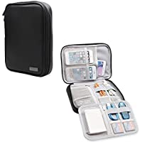 Teamoy Electronic Organizer, Travel Gadget Bag for Cables, USB Flash Drive, CF Card, Earphone, Plug, iPad mini and More, High Capacity and Compact--PU Leather