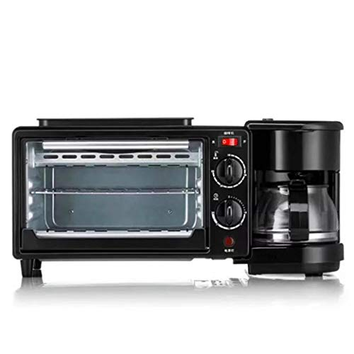 NOKUN Family Three-in-One Retro Breakfast Machine, Toaster Oven Pan Three-in-One Multi-Function Breakfast Center, Regular, Black