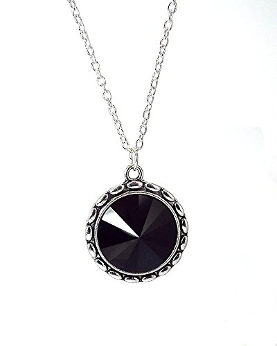 (Black Crystal Pendant Necklace made with Swarovski Rivoli Rhinestone on Silver Toned Chain )