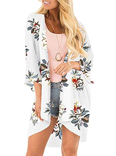 Womens Floral Kimono Cardigans Sheer Print Chiffon Loose Cover ups Tops(Grey White,S