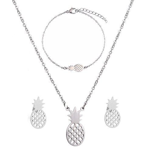 SKQIR Womens Stainless Steel Pineapple Jewelry Sets (Earrings+Bracelets+Necklaces Jewelry Set) (Silver Set)
