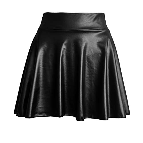 (TOOTO Women's Faux Leather Casual Fashion Stretchy Flared Pleated A-Line Circle Mini Skater Skirt (Black,)