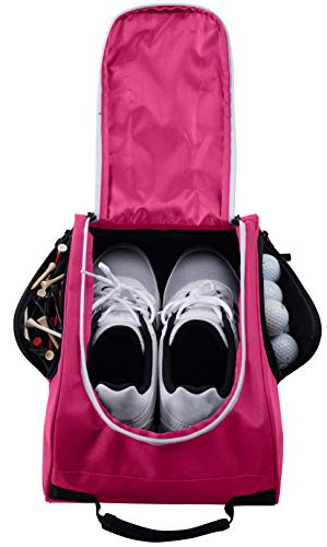 Athletico Golf Shoe Bag - Zippered Shoe Carrier Bags with Ventilation & Outside Pocket for Socks, Tees, etc. (Pink)