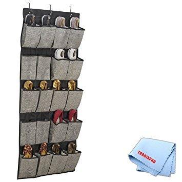 20 Pocket Hanging Shoe Organizer/Caddy In Grey/Black + Tronixpro Microfiber (20 Pocket Shoe)