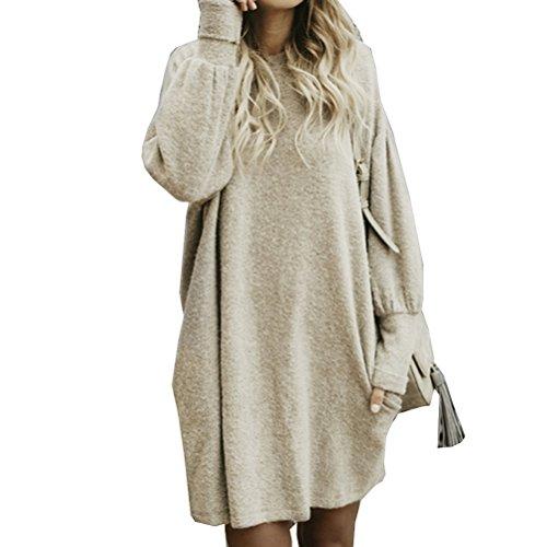Momtuesdays2 Women's Casual Long Sleeve Loose Bat Pullover Sweater Jumper (Beige, XL)