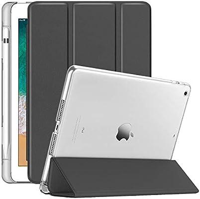 Dailylux Funda iPad 9.7 2017/2018 Carcasa Soporte Incorporado de Apple Pencil SlimShell Carcasa Ligera Trasera Protectora Transparente Esmerilado ...