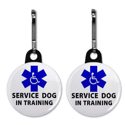 BLUE SERVICE DOG IN TRAINING Medical Alert 2-Pack 1 Zipper Pull Charms ()