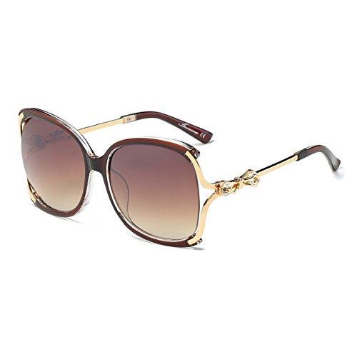 Amomoma Classic Crystal Women Sunglasses UV Protection Oversized Shades AM2001 Brown Frame/Gradient Brown Lens
