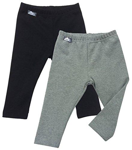 (JAN & JUL Warm Thick Baby Girl Boy Winter Leggings (18m, Pack of 2: Black/Grey))
