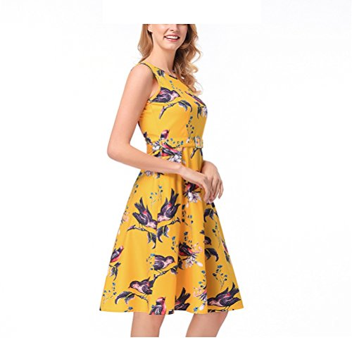 Giallo Vestito Cintura Rockabilly Audrey Xl Maniche Senza colore Cocktail Fiori 50's Vintage Abito Giallo Yingsssq Da Sera Elegante Con Dimensione Stampato Donna 1F1wa