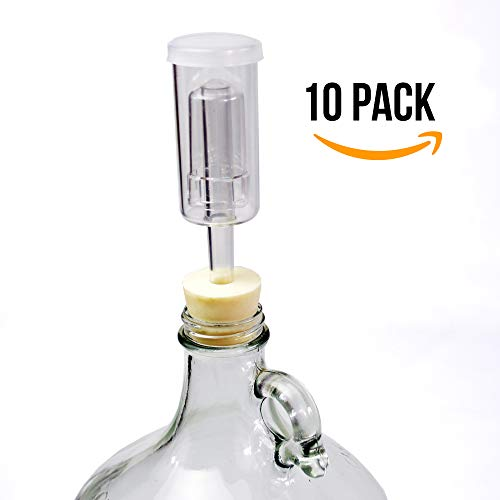 (10 Pack) Three-Piece Airlock and Drilled #6 Stopper Fermentation Beer Making Wine Making Kombucha Fits Gallon Jugs (10)