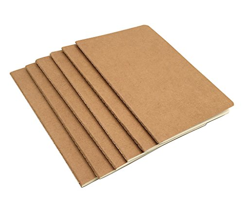 6pcs Travelers' Notebook Thread-bound Journal Diary Memo Pad,A5 Size & 30 sheets(Blank Pages) by Alimitopia