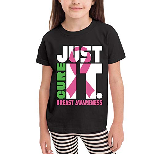 XYMYFC-E Just Cure Breast Cancer Awareness 2-6 Years Old Kids Short Sleeve Tshirt Black
