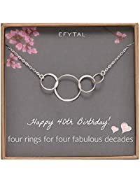 40th Birthday Gifts for Women, Sterling Silver Four Circle Necklace for Her 4 Decade Jewelry 40 Years Old