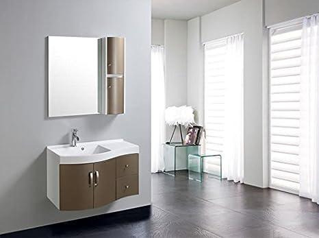 Mobile bagno marrone completo di lavabo specchio pensile l