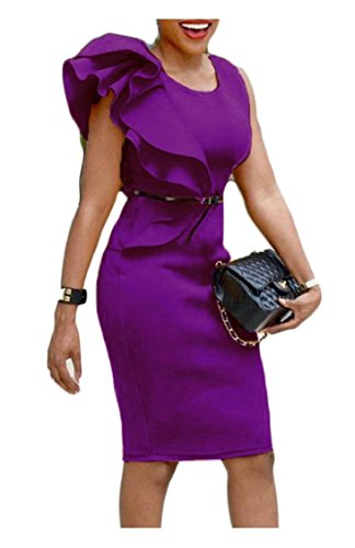 Dresses Sexy Midi Clubwear Bodycon Womens Sleeveless Jaycargogo Ruffles Purple Party Rw1Zn6