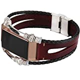 somoder Leather Bands Compatible Fitbit Charge 3, Handmade Vintage Leather Bracelet Bohemia Decor Replacement Fitbit Charge 3 Bands (DIY Style)