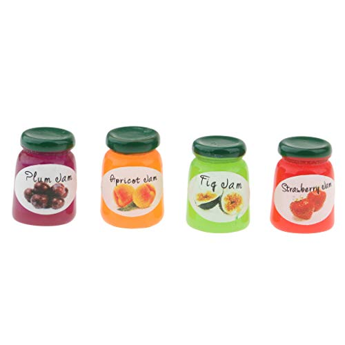 Prettyia 4 Bottles Groceries Shop Canned Fruit Jam Dollhouse Miniatures Kitchen Food Dining Room Display Supplies