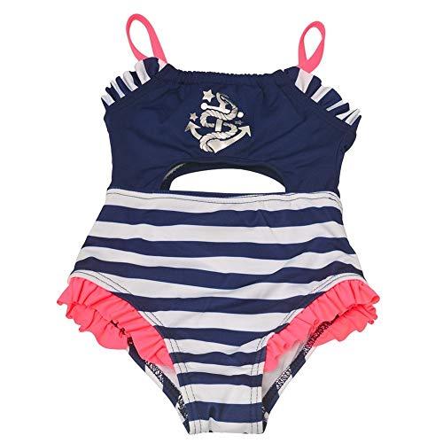 Penelope Mack Baby Girls Navy Stripe Anchor Detail One Piece Swimsuit 12M