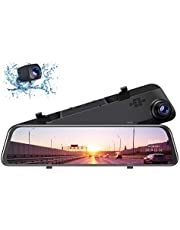 """Mirror Dash Cam, 12"""" 2.5K GPS Voice Control Rear View Mirror Camera Touch Screen Front and Rear Dual Lens Dash Cameras Waterproof Backup Camera with Parking Assistance Night Vision Supports Max 128GB"""