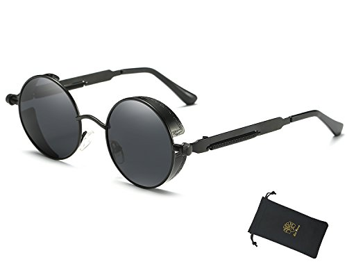 Red Peony Retro Gothic Steampunk Sunglasses for Women Men Round Metal Circle Polarized Sunglasses (black, - Suit To Glasses Shape Female Round Face