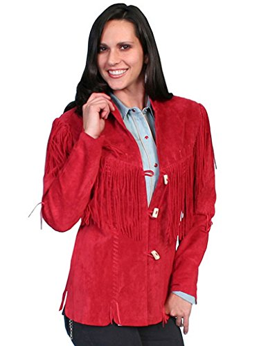 Boar Suede Jacket (Scully Leather Womens Wooden Toggle Closure Boar Suede Fringe Jacket Red 3X)