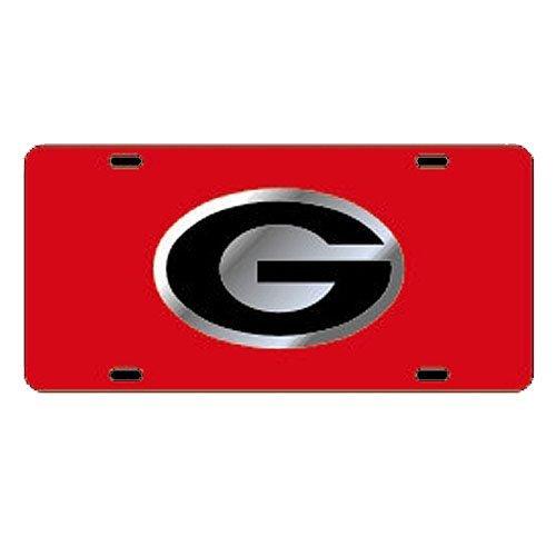 Georgia Bulldogs Red Car Tag W/silver/black Logo G
