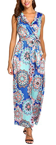 SimpleFun Women's Summer Bohemian Maxi Dresses Sleeveless V-Neck Wrap Bodice Crossover Belted Long Casual Dress with Pockets (Blue,L)