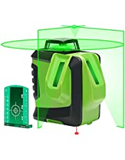 Huepar Green Self-Leveling Laser Level 2X 360-Degree Cross Line Laser Level with Pulse Mode, Switchable Horizontal and Vertical Green Beam Laser Tool, Magnetic Pivoting Base Included