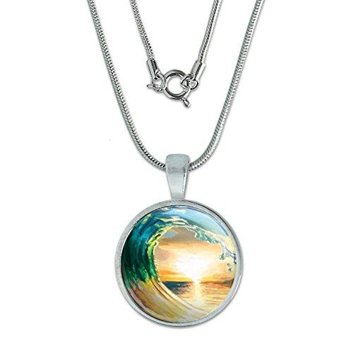 Ocean Wave Sunset Pendant Sterling