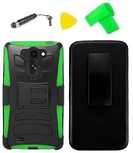 Belt Clip Holster w Kickstand Heavy Duty Hybrid Phone Case Cover Cell Phone Accessory + Stylus Pen + Yellow Pry Tool for LG G Vista VS880 (Belt Clip Holster Black/Green)