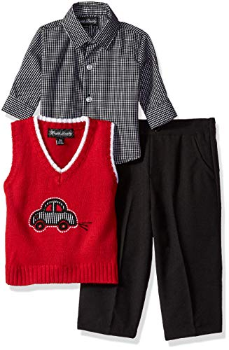 English Laundry Baby Boys 3 Piece Sweater Vest, Woven Sport Shirt and Pant, Engine red 18M (Piece Shirt Vest Sweater 3)