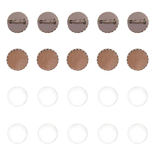 PandaHall Elite 10 pcs 25mm Iron Brooch Clasps Pin Disk Base Pad Bezel Blank Cabochon Trays Backs Bar with 10 pcs 10mm Clear Glass Cabochons for Badge Corsage Jewelry Craft Making,Antique Bronze