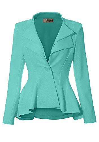 Women Double Notch Lapel Office Blazer JK43864 1073T Mint Small ()
