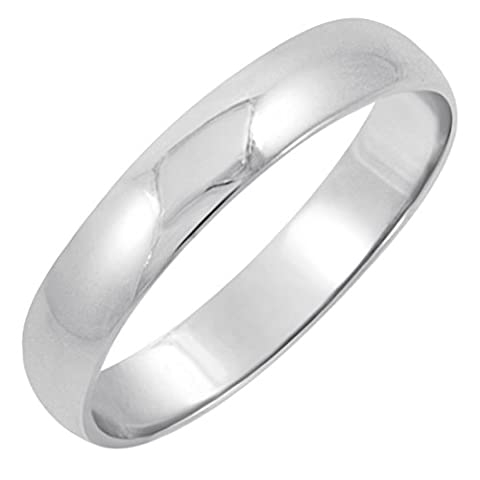 Men's 14K White Gold 4mm Classic Fit Plain Wedding Band (Available Ring Sizes 8-12 1/2) Size 10 (Man Ring Gold 14k)