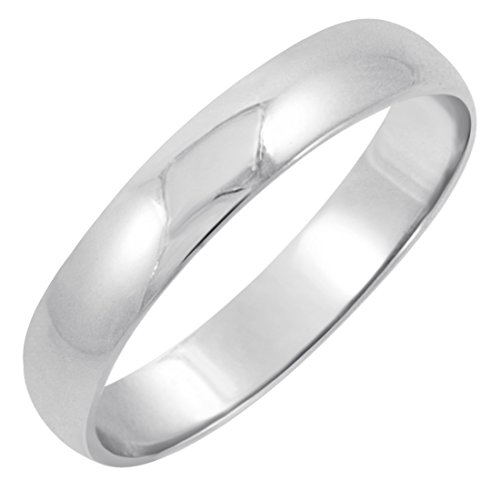 Men's 10K White Gold 4mm Traditional Fit Plain Wedding Band (Available Ring Sizes 7-12 1/2) Size 9