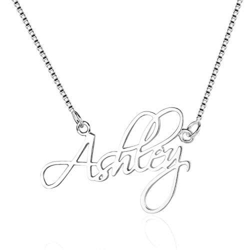 (WENSDIA Personalized Names Custom Name Necklace Pendant,18K Gold Plated Nameplate Personalized Jewelry Name Chain Gift for Women (Silver)