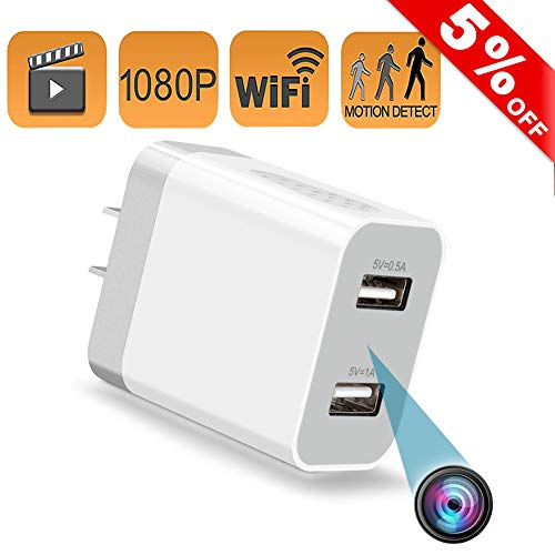 Spy Hidden Camera WiFi, Mini Wireless Nanny Cam USB Wall Charger, with Remote Viewing, HD 1080P, Motion Detection, Best Undetectable Spying Cameras Detector for Home