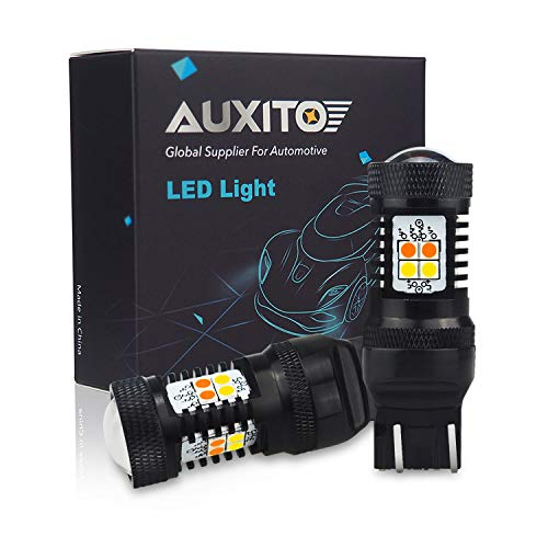 AUXITO White/Amber 7443 7440 7441 Switchback LED Bulbs with Projector Extremely Bright for Turn Signal Lights (Pack of 2)