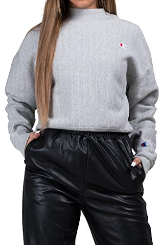 (Champion LIFE Women's Printed Reverse Weave Mock Neck Crop, pin Stripe Oxford Grey Small)