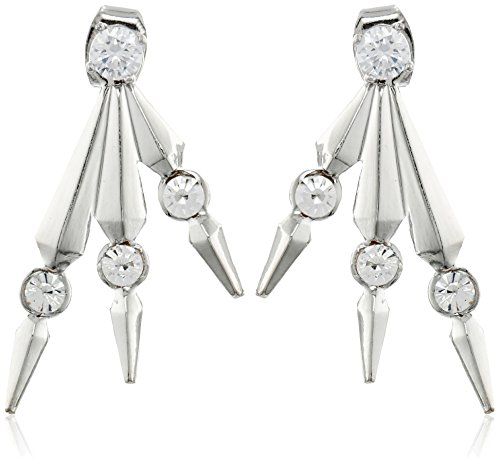 a.v. max Triple Spike Front/Back Silver Earrings